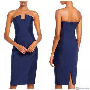 Black Halo Lena Strapless Velvet Dress in Navy, 4